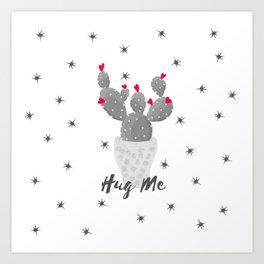 Hug Me Cactus in Pot Hearts Design Art Print