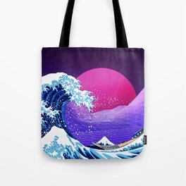 Synthwave Space: The Great Wave off Kanagawa #2 Tote Bag