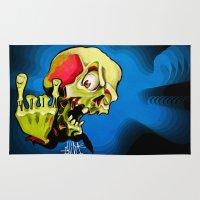 rock n roll Area & Throw Rugs featuring Rock n' Roll Skull by Vida Graffiti