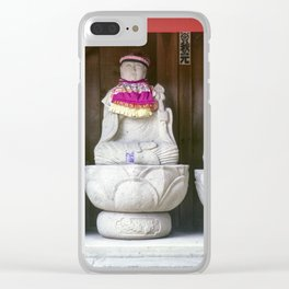 Row of Jizo monk statues with bib and hat Clear iPhone Case