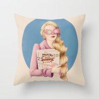 luna lovegood Throw Pillows featuring Luna II by Inflomora