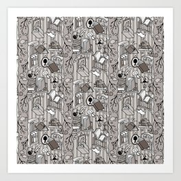 Books: Through the rabbit hole_Warm Gray Art Print