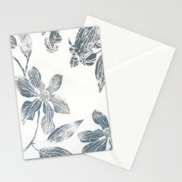 Silver clematis Stationery Cards