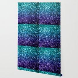 Beautiful Aqua blue Ombre glitter sparkles Wallpaper