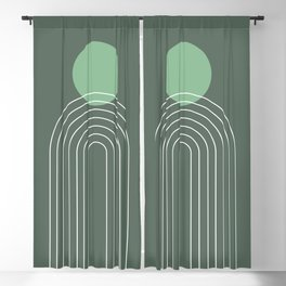Mid Century Modern Geometric 77 in Sage Green (Sun and Rainbow abstraction) Blackout Curtain