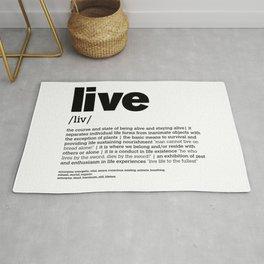 Define LIVE b/w Rug