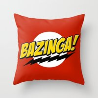 bazinga Throw Pillows featuring Bazinga! by WaXaVeJu