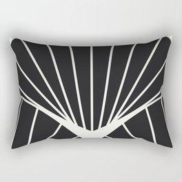 Diamond Series Round Sun Burst White on Black Rectangular Pillow