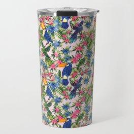 Tropical Bird Floral Summer Print Travel Mug