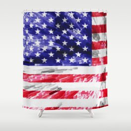 American Flag Extrude Shower Curtain