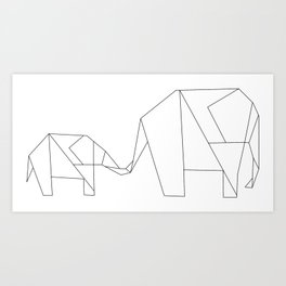 Origami Elephants Art Print
