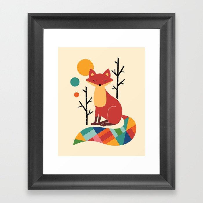 Rainbow Fox Gerahmter Kunstdruck