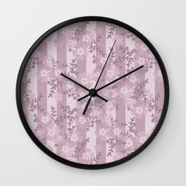 Floral pattern dusty rose . Wall Clock