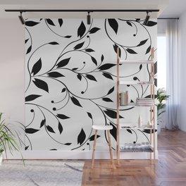 FLOWERY VINES | white black Wall Mural