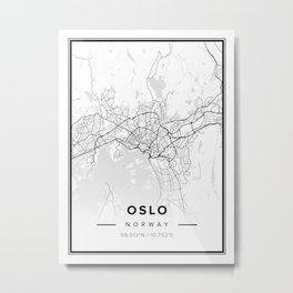 Oslo Modern Map Metal Print