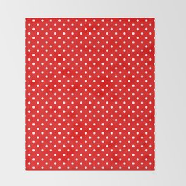 Red with white polka dots Throw Blanket
