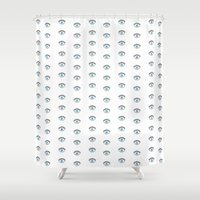 all seeing eye Shower Curtains featuring All Seeing Evil Eye by nelavision