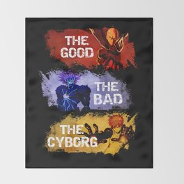The Good The Bad The Cyborg - One Punch Man Throw Blanket