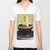 russian V-neck T-shirts featuring Russian Coffee by Falko Follert Art-FF77