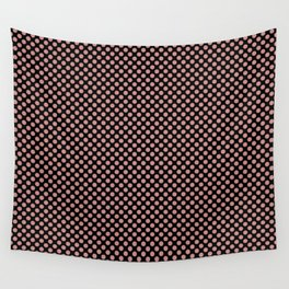 Black and Rosette Polka Dots Wall Tapestry