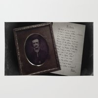 edgar allan poe Area & Throw Rugs featuring Edgar Allan Poe by Apples and Spindles