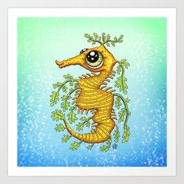 Happy Leafy Sea Dragon Art Print