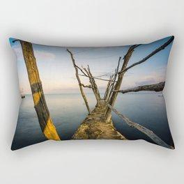 Rustic Pier at the Adriatic Sea Rectangular Pillow