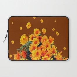 COFFEE BROWN SHOWER GOLDEN FLOWERS Laptop Sleeve