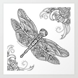 Fly with me through the wind, my dragonfly. Art Print