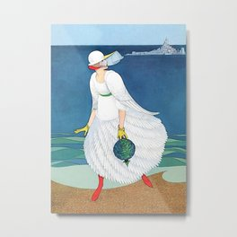 "George Wolfe Plank Art Deco Design ""On The Beach"" Metal Print"