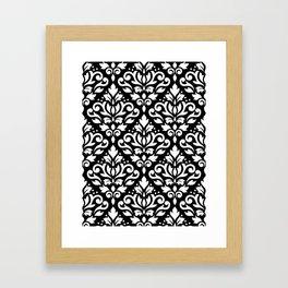 Scroll Damask Big Pattern White on Black Framed Art Print