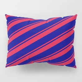 Crimson and Blue Colored Lines/Stripes Pattern Pillow Sham