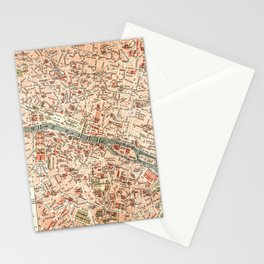 Vintage Map of Paris Stationery Cards