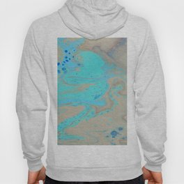Fluid Art Acrylic Painting, Pour 28, Blue, Turquoise, Tan & Brown Blended Color Hoody