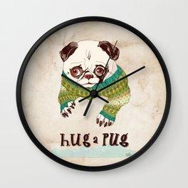 Hug a Pug Wall Clock