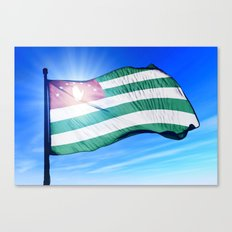 Abkhazia flag waving on the wind Canvas Print