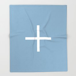 white cross on placid blue background Throw Blanket