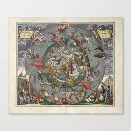 Keller's Harmonia Macrocosmica - Northern Hemisphere Scenography 1661 Canvas Print