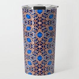 Blue and Gold Beadwork Inspired Print Travel Mug