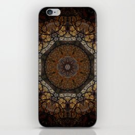 Rich Brown and Gold Textured Mandala Art iPhone Skin