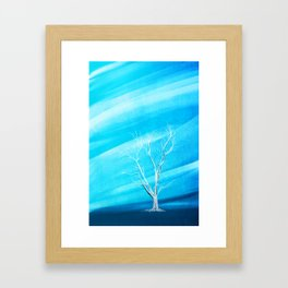 Big white leafless tree blue background Framed Art Print