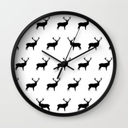 Black And White Deer Wall Clock