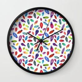 Rainbow Watercolor Feather Pattern Wall Clock