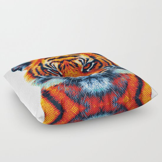 Animal Shaped Floor Pillows : Tiger - Colorful Animals Floor Pillow by Raquel Catalan Designs Society6