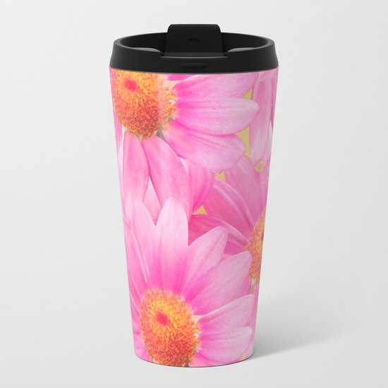 Bunch of pink daisy flowers - a fresh summer feel in pink color Metal Travel Mug