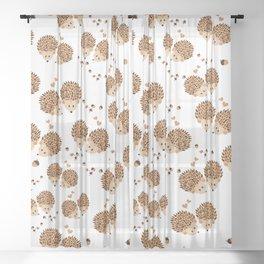 Hedgehogs in autumn Sheer Curtain