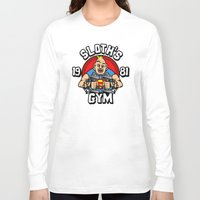 gym Long Sleeve T-shirts featuring Sloth's gym by Buby87