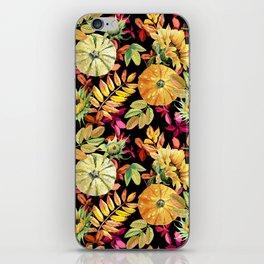 Watercolor leaves, pumpkins, sunflower. iPhone Skin
