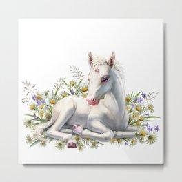 Baby unicorn lies in flowers Metal Print