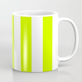 Electric lime green - solid color - white vertical lines pattern Coffee Mug